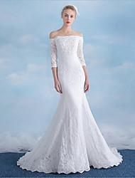 Sirène / trompettiste hors-l'épaule court train robe de mariée sequined avec perles par drrs