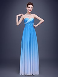 cheap -Sheath / Column Sweetheart Floor Length Chiffon Bridesmaid Dress with Side Draping by Embroidered Bridal