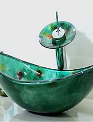 Contemporaneo 1.2*54*36*16.5 Rettangolare Materiale del dissipatore è Vetro temperatoLavandino bagno Rubinetto per bagno Anello di