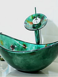 Contemporáneo 1.2*54*36*16.5 Rectangular material del disipador es Vidrio TempladoLavabo de Baño Grifería de Baño Anillo de Montura de