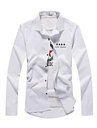 Spring fashion thin shirt Korean color printing slim casual Mens Long sleeve shirt shirt