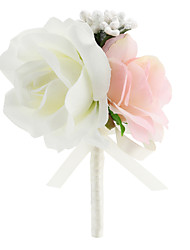 cheap -Wedding Flowers Free-form Roses Elegant Boutonnieres Wedding / Party/ Evening Pink Satin
