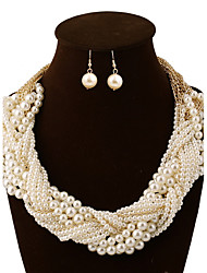 cheap -Women's Jewelry Set Necklace/Earrings Statement Jewelry European Multi Layer Party Pearl Earrings Necklaces