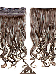 cheap -Synthetic Clip In Hairpieces 24inch 60cm Curly Wavy Hair Extensions   #12/613 Mixed Color Heat Resistant