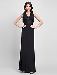 Mermaid / Trumpet V-neck Ankle Length Jersey Prom Formal Evening Dress with Lace by TS Couture®