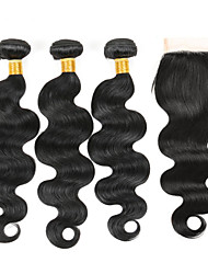 cheap -3 Bundles Brazilian Virgin Hair Weft Body Wave With 1Pcs Lace Closure Natural Black Hair Extensions