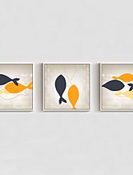 Недорогие -Масляная картина в раме Абстракция Животные Мультипликация Предметы искусства, Полистирен материал с рамкой Украшение дома Предметы