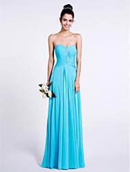 cheap -Sheath / Column Sweetheart Floor Length Chiffon Bridesmaid Dress with Beading Ruching by LAN TING BRIDE®