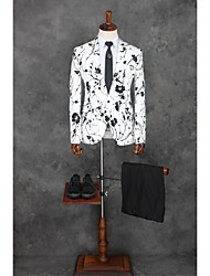 cheap -White Pattern Tailored Fit Polyester Suit - Notch Single Breasted One-button