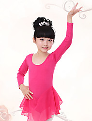 cheap -Ballet Dresses Children's Training Cotton Chiffon Ruched Long Sleeves Natural Dress