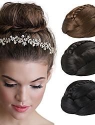abordables -updo boda de novia clips moño del bollo trenzas extensiones de cabello rectas sintéticas marrones
