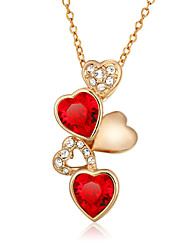 cheap -Women's Heart Fashion Pendant Necklace AAA Cubic Zirconia Zircon Cubic Zirconia Gold Plated Pendant Necklace , Wedding Party Daily Casual