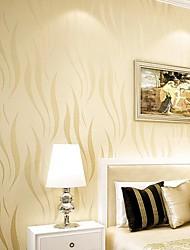 cheap -Non-woven Warm Light Yellow Camber Living Roon Bedroon Decor Wallpaper Flocking Murals of Wall Paper Roll