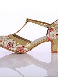 Women's Dance Shoes Fabric  Latin Ballroom  Heels Heel Indoor Blue / Red Customizable