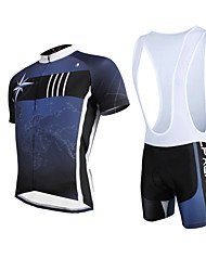 cheap -ILPALADINO Men's Short Sleeves Cycling Jersey with Bib Shorts - Dark Blue Bike Bib Shorts Jersey Clothing Suits, 3D Pad, Quick Dry,