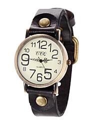 baratos -Mulheres Relógio de Pulso Relógio Casual Couro Banda Vintage / Casual / Torre Eiffel Preta / Azul / Vermelho