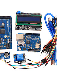 cheap -Learning Tools MEGA 2560 R3 Board + Ethernet W5100 + Relay + Breadboard Cable + Hc-Sr04 Sensor Kit for Arduino