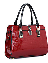 Women Bags All Seasons PU Patent Leather Tote with for Shopping Casual Formal Office & Career Black Beige Blue Wine