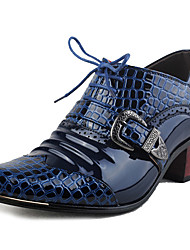 Men's Shoes Patent Leather Office & Career / Party & Evening Oxfords Office & Career / Wedding Heel Lace-up Blue