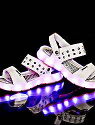 Girls' Sandals Summer Light Up Shoes Cowhide Casual Flat Heel White Black Yellow Blue