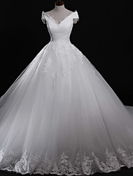 Ball Gown Off-the-shoulder Cathedral Train Tulle Wedding Dress with Appliques Lace by DRRS