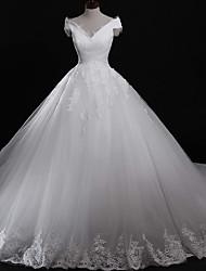 Robe de balon hors-épaule train cathédrale robe de mariage en tulle avec appliques dentelle par drrs