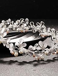 Brass Crystal Imitation Pearl Rhinestone Tiaras Headpiece