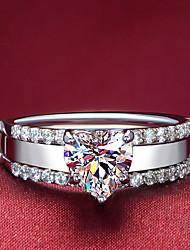 Anillos De mujeres Diamantes Sintéticos Plata / Chapado en Plata Plata / Chapado en Plata 4.0 / 5 / 6 / 7 / 8 / 8½ / 9 / 9½ Multicolor