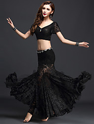 cheap -Belly Dance Outfits Women's Performance Lace 3 Pieces Black / Green / Red / Royal Blue / White Short Sleeve