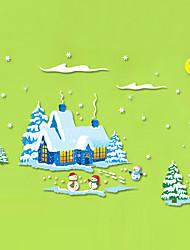 Недорогие -Декоративные наклейки на стены - Простые наклейки Рождественский декор Гостиная Спальня Ванная комната Кухня Столовая Кабинет / Офис