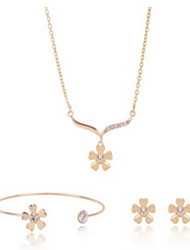 Jewelry Set Adjustable Adorable Gift Boxes & Bags Golden Necklace/Bracelet Necklace/Earrings Set Wedding Party Daily Casual 1setNecklaces