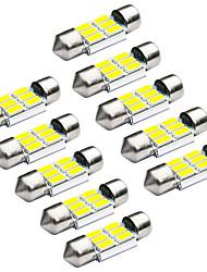 preiswerte -Jiawen 10pcs / lot Girlande 31mm 1.2W 6 x 5730 smd weißes Auto Signal-LED-Leuchten (DC 12V)