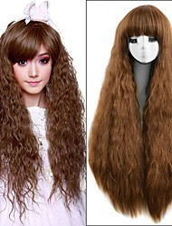 36Inch Medium Brown Long Kinky Curly Heat Resistant Women Synthetic Wigs Cute Lolita Natural Hair Loose Curl Women's Wig