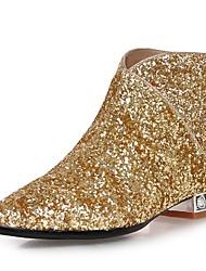 Недорогие -Для женщин Обувь Лак Материал на заказ клиента Осень Зима Модная обувь Ботинки На толстом каблуке Блочная пятка Ботинки Молнии Назначение