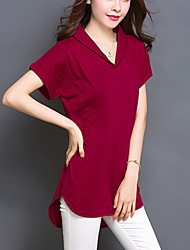 cheap -Women's Solid Red / Black / Green Long section T-shirt,Plus Size /Casual Loose Thin V Neck Asymmetrical Cotton/Spandex