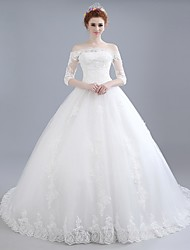 cheap -Ball Gown Off-the-shoulder Chapel Train Lace Satin Tulle Wedding Dress with Lace by LAN TING BRIDE®