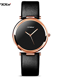 SINOBI Women's Fashion Watch Water Resistant / Water Proof Shock Resistant Quartz PU Rose Gold Plated Band Vintage Black