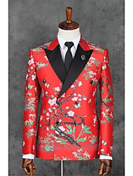 cheap -Red Patterns Slim Fit Polyester Suit - Slim Notch Double Breasted Two-buttons