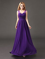 cheap -A-Line V Neck Floor Length Chiffon Bridesmaid Dress with Pleats by Luoge