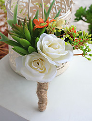 cheap -Wedding Flowers Free-form Roses / Peonies Boutonnieres Wedding / Party/ Evening Beige Satin