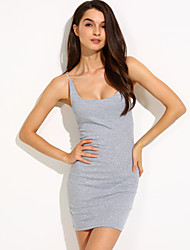 Women's Casual/Daily Sexy Bodycon Dress,Solid Deep U Mini Sleeveless Cotton Summer Mid Rise Stretchy Opaque
