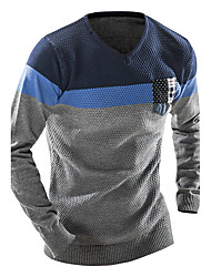 Men's Color Block Casual / Sport Pullover,Wool / Cotton Long Sleeve Blue / Gray Wool Sweater