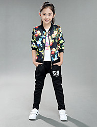 cheap -Girls' Daily Floral Clothing Set, Cotton Spring Fall Long Sleeves Floral Black