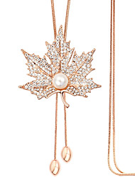 Maple Leaves Rhinestone Pendant Necklace Sweater Chain Imitation Pearl Long Women Wedding Party Jewelry With Gift Box
