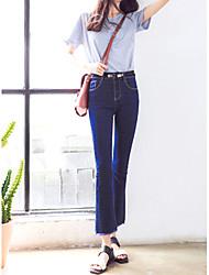 economico -Per donna A vita alta Casual Media elasticità Bootcut Jeans Pantaloni, Tinta unita Cotone Rayon Per tutte le stagioni