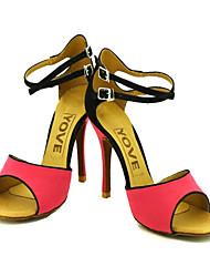 cheap -Women's Latin Salsa Ballroom Flocking Sandal Buckle Customized Heel Orange Fuchsia Customizable