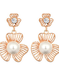 New Arrival Korean Jewelry 18K Gold Plated Hollow Flower Drop Earrings For Women Fashion Pearl Earring Jewelry