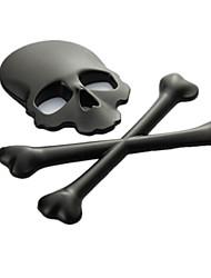 economico -adesivi per auto in metallo, adesivi 3d cranio car stereo personalità