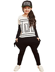 Girl's Cotton Spring/Autumn Casual Long-Sleeve T-shirt And Harem Pants Two-piece Set