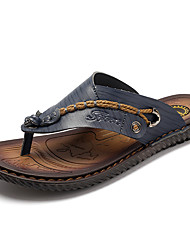 cheap -Men's Shoes Cowhide Spring Summer Fall Comfort Slippers & Flip-Flops for Casual Dark Blue Brown
